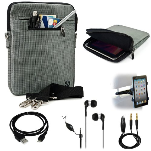 Silver Gray Mighty Nylon Jacket Slim Compact Protective Sleeve Shoulder Bag Case with accessories For Toshiba AT200 Android Tablet Computer + Includes a eBigValue (TM) Determination Hand Strap + Includes a Black Micro USB Data Sync Cable + Auxilary Cable ( AUX Connectivity ) + Adjustable HeadRest Car Mount Kit + Noice Reducer MP3 Handsfree Earbuds Earphones with Mic (At200 Charger Toshiba Tablet)