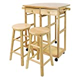 Kitchen Island Table with Stools Mobile Breakfast Cart with 2 Stools and Drop-Leaf Table, Natural