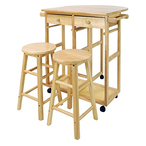 Mobile Breakfast Cart with 2 Stools and Drop-Leaf Table, Natural