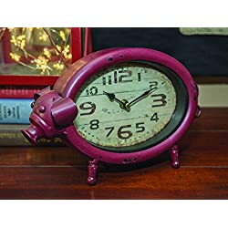 Metal Pig 10.5 Inch Tabletop Clock