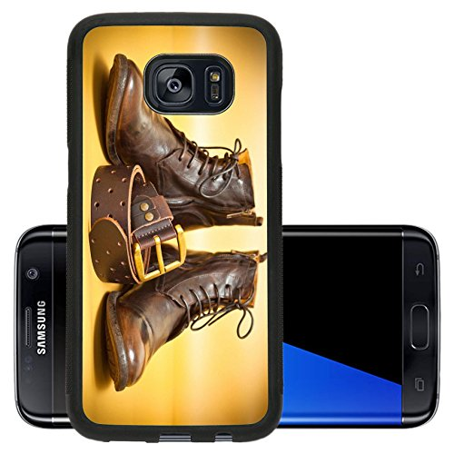 [Luxlady Premium Samsung Galaxy S7 Edge Aluminum Backplate Bumper Snap Case IMAGE ID: 34717408 Fashion leather shoes leather belt with gold buckle Yellow abstract background] (Abstract Belt Buckle)