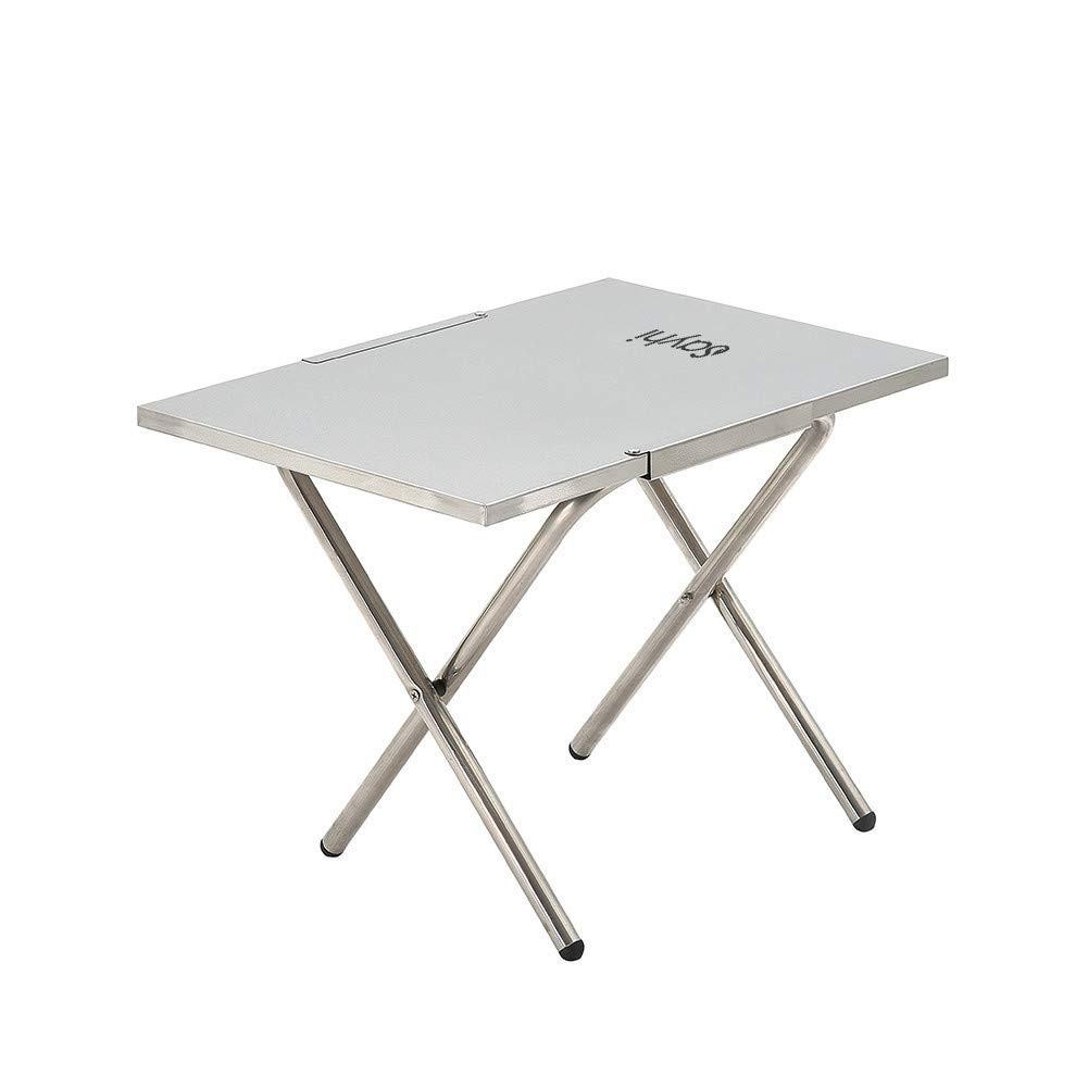 Cloudro Folding Table,Foldable Desk Stainless Steel Table for Outdoor Picnic Party Dining Camp,20 by 14 Inches