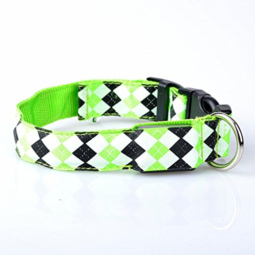 Collar Green Pendant - LED Dog Collar,Pet Puppy LED Glow Light Leash Collar Diamond Pattern Collar Buckle Lighted Circular Pendant Collar (green, XL)