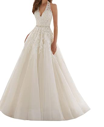 249bf5cf06f5 SIQINZHENG Halter Deep V Wedding Dress with Beads Long Wedding Gowns for  Bridal at Amazon Women's Clothing store:
