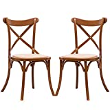 Set of 2 Cross Back Dining Side Chair Solid Wood Rattan Seat Modern Farmhouse + FREE E-Book