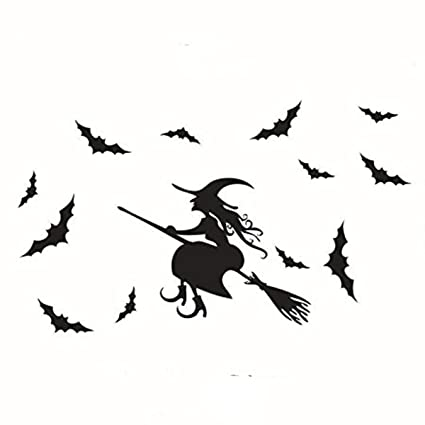 halloween flying witch on broom bats pvc lettering decal home decor window bedroom living roon wall