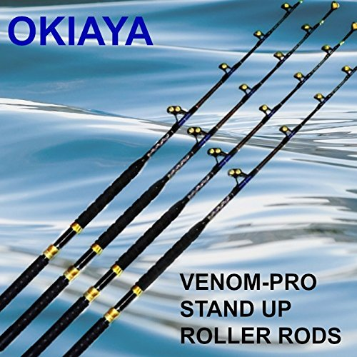 "OKIAYA Carbon Fiber ""VENOM Pro SERIES"" 80-130 Pound Tournement for PENN SHIMANO  Set Of 4 For Sale"