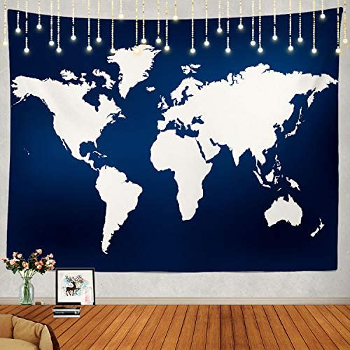 Shrahala Navy Blue World Map Tapestry, Earth in Navy Blue White Wall Hanging Large Tapestry Psychedelic Tapestry Decorations Bedroom Living Room Dorm 59.1 x 82.7 Inches, Blue 4