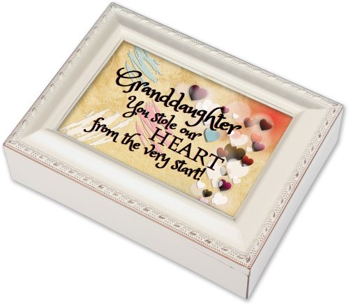 Cottage Garden Granddaughter Ivory Music Box/Jewelry Box Plays You Light Up My Life