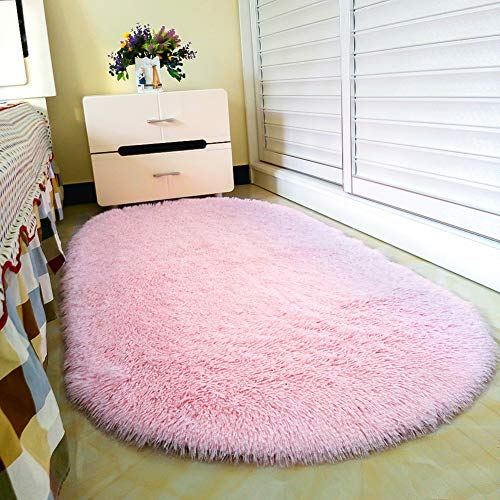 junovo Oval Fluffy Ultra Soft Area Rugs for Bedroom Plush Shaggy Carpet for Kids Room Bedside Nursery Mats, 2.6 x 5.3ft, Pink (Upgrade Version)