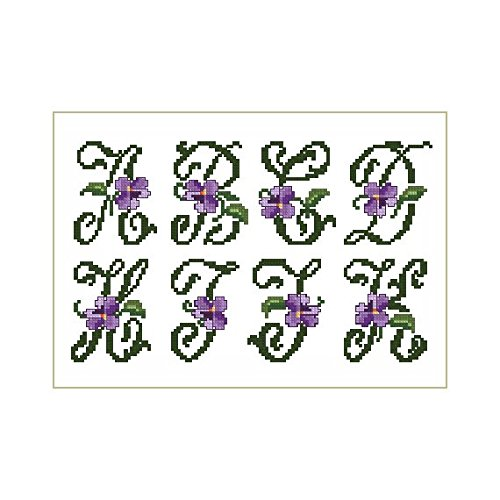 ThreaDelight ABC Embroidery Designs Set - Violets Small Alphabet Cross-Stitch Machine Embroidery Designs - Uppercase Letters - 4