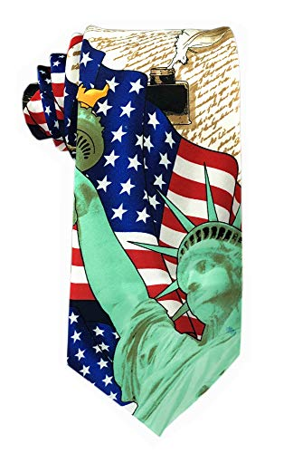 Men's Boys Red White Blue Freedom USA Stars American Flag Patriotic Tie Classic Self Novelty Necktie