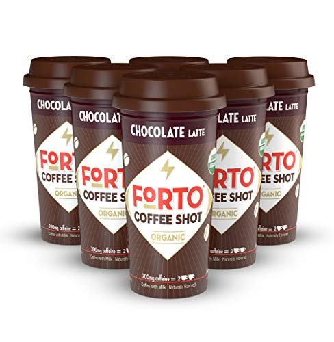 FORTO Coffee Shots - 200mg Caffeine, Choclate Latte, Ready-to-Drink on the go, High Energy Cold Brew Coffee - Fast Coffee Energy Boost, 6 Pack