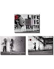 Piy Painting 3X Impression sur Toile de La Vie est Belle Fille avec Ballon Rouge Graffiti Garçons sur la Rue, Prêt Suspendu Peinture pour Art Déco Murale Salle de Bain Cadeau Anniversaire 30x40cm