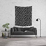Society6 Wall Tapestry, Size Medium: 68'' x 80'', Bingo - Black and White Sprinkle Retro Modern Pattern Print Monochromatic Trendy Hipster 80s Style by wacka