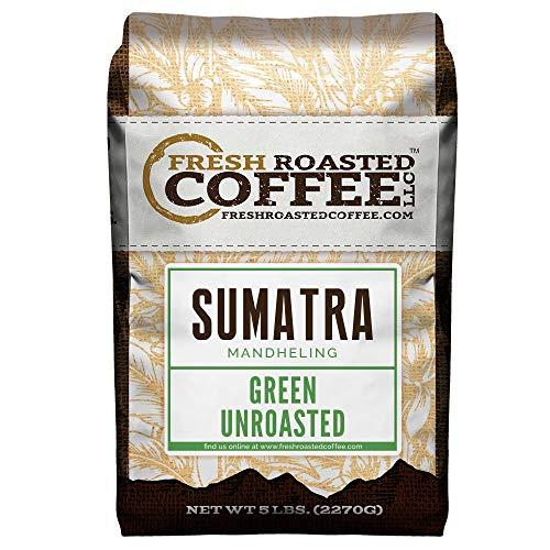 Fresh Roasted Coffee LLC, Green Unroasted Sumatra Mandheling Coffee Beans, 5 Pound Bag