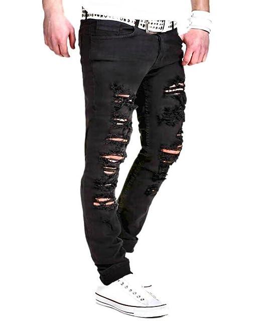 c34a24b61 Pantalones de Moda para Hombres - Casual Wash Broken Hole Pantalones ...