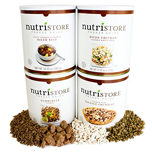 Freeze-dried Meat by Nutristore | Assorted Premium Pack (Beef Dices, Chicken Dices, Ground Beef and Sausage Crumbles) | 80 Large Servings | Survival Food | Amazing Taste | Perfect for Camping
