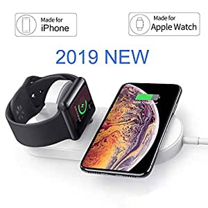 OSMCELL Magnetic Wireless Charger for Apple Watch, Compatible for iWatch Series 4/3/2/1, 2 in 1 Charging Pad Stand Compatible for with for iPhone ...
