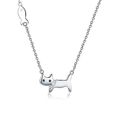 SIMPLOVE Collar de Gato Lindo para Mujeres, Niñas, Adolescentes, Diseño de Gatito y Pescado, Collar Delicado Hipoalergénico Plata de Ley 925 Chapado en ...