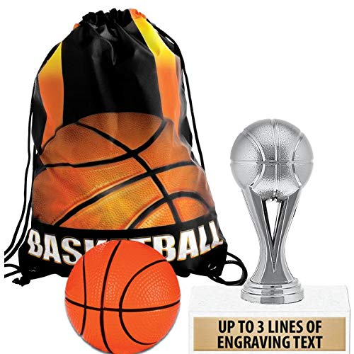 Crown Awards Basketball Goodie Bags, Basketball Favors for Basketball Themed Party Supplies Comes with Personalized Silver Kids Basketball Trophy, Squishball and Basketball Drawstring 20 Pack by Crown Awards (Image #4)