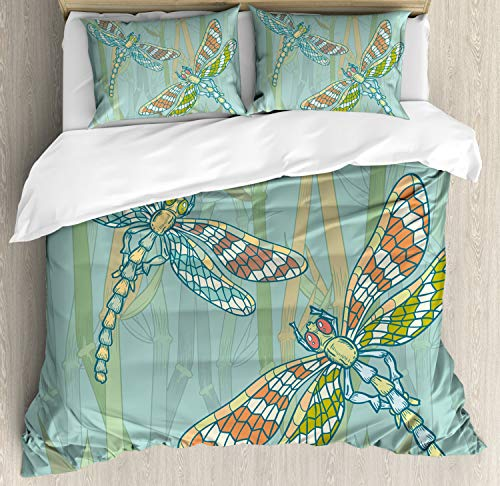 (Ambesonne Dragonfly Duvet Cover Set Queen Size, Doodle Style Giant Dragonfly Figures on Lake Bushes Nature Exotic Picture Art, Decorative 3 Piece Bedding Set with 2 Pillow Shams, Almond)