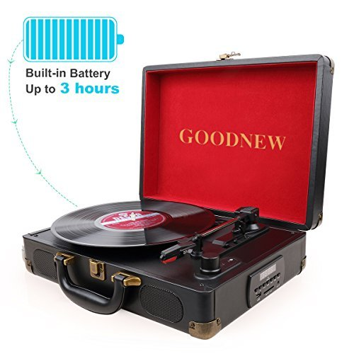 GOODNEW vinyl record player Turntable with Built in Speakers Support Headphone & RCA Output and AUX (3.5mm) input Jack (black)