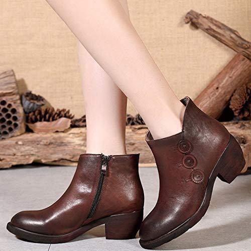 Tacón Antideslizantes Botines Zapatos Yan Al Botones Grueso Libre Señora Vintage Caminar De Invierno Para Mujer Un Otoño Cuero Aire PdxqwvfA
