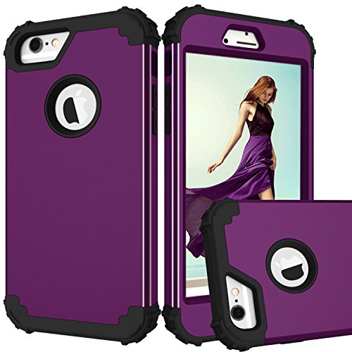 MAXCURY Case for iPhone 6, iPhone 6s Case, 3 in 1 Shockproof Slim Hybrid Hard PC Soft Silicone Rugged Rubber Bumper Full Body Protective Case Cover for iPhone 6/6S (4.7 inch) (Purple Black)