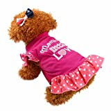 Neartime Puppy Clothes, Small Dog Cat Pet Dress Fly Sleeve Dress for Pet (S, Hot Pink)