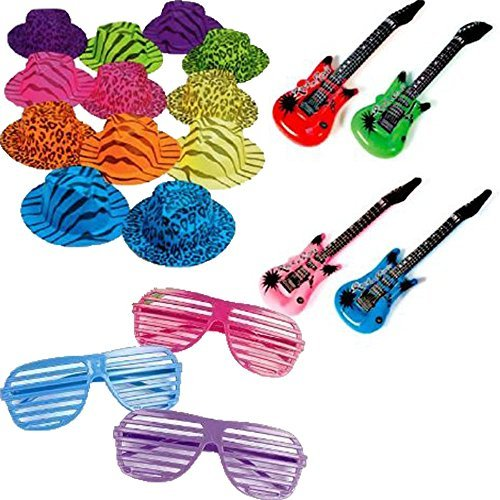 Rock Star Party Favor Pack Includes Hats, Glasses, and Inflatable Instruments for 12 (Neon Electric Rock Guitar)