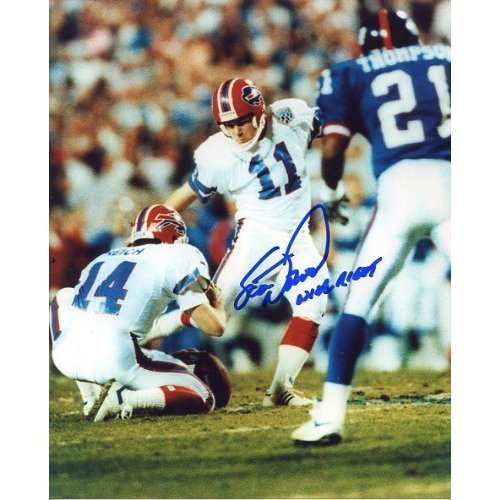 Scott Norwood (Buffalo Bills Kicker) Autographed/Original Signed 8x10 Color Photo During Super Bowl XXV - His Famous 47 Yd Field Goal Attempt Missed - Norwood Wrote