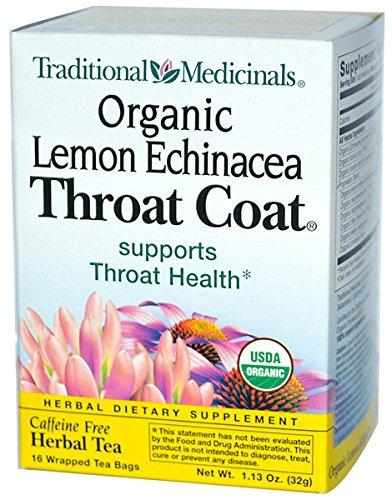 - Traditional Medicinals Organic Lemon Echinacea Throat Coat Herbal Tea - 16 Tea Bags