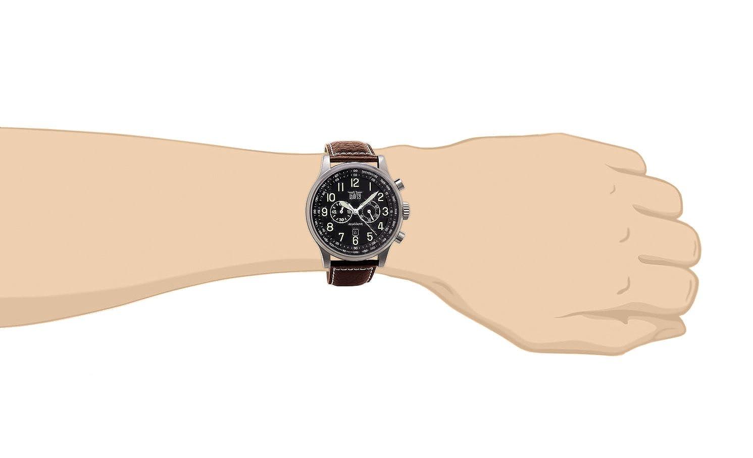 4d3366d55fa5 Davis-0451- Reloj Hombre Aviador 48mm - Cronógrafo Sumergible 50M - Correa  de Piel Marrón con pespunte  Amazon.es  Relojes