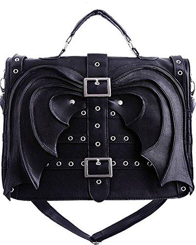 Restyle Gothic Vamp Gotham Knight Bat Wings Devil Wings Black Satchel Bag