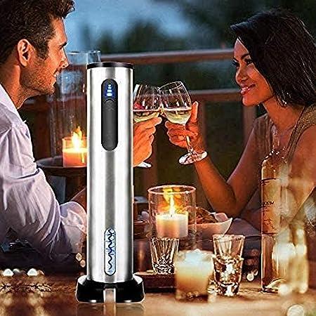 Juego de abridor de vino eléctrico, sacacorchos automático, funciona con pilas, abrebotellas y abrebotellas, set de regalo con cortacápsulas al vacío y aireador