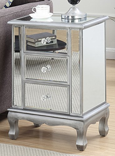 Convenience Concepts Gold Coast Accent End Table, Silver (Drawers With Glass Table)