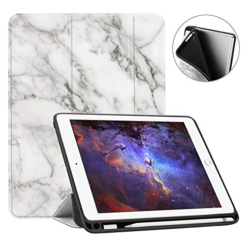 Fintie iPad 9.7 2018 Case with Built-in Apple Pencil Holder - [SlimShell] Lightweight Soft TPU Back Protective Stand Cover with Auto Wake/Sleep for Apple iPad 2018 9.7 Inch (6th Gen), Marble White