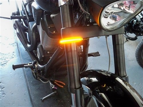 Victory Vegas Chrome - Victory Vegas & Jackpot Models Razor 43mm Fork LED Turn Signal Light Bars - Smoked Lens