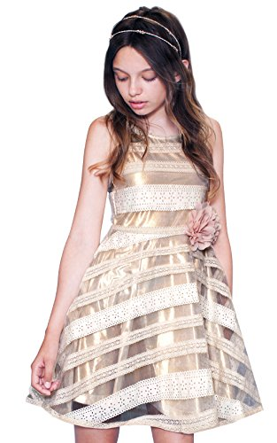 Gold Multi Leather - Hannah Banana Big Girls Tween Faux Leather Party Dress, 7-16 (7, Gold Multi)