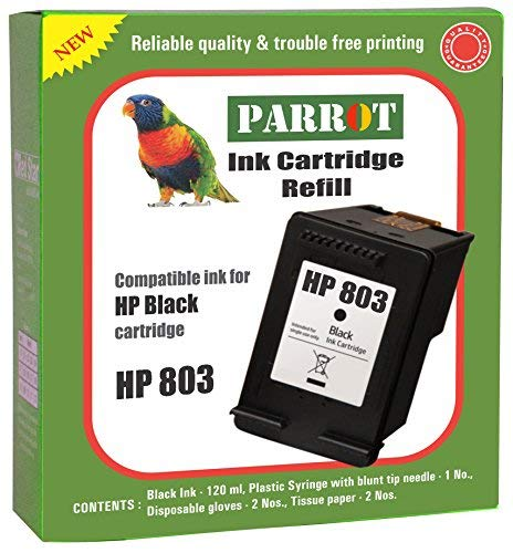 Parrot Ink Cartridge Refill kit Compatible for HP 803 Black Ink Cartridge Suitable for Desk Jet Printer 1111,1112,2131,2132,2621,2622,2623,AMP 120,125