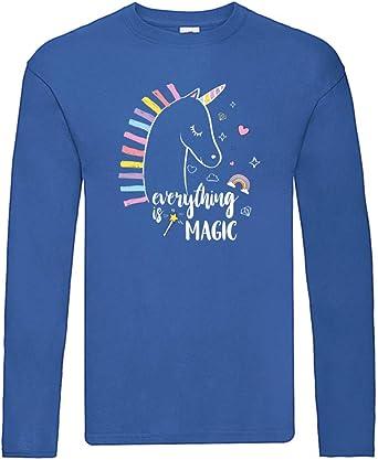 Camiseta de Manga Larga – Everything is Magic Unicornio – Camiseta de Manga Larga Unisex para niños – Niños y niñas: Amazon.es: Ropa y accesorios