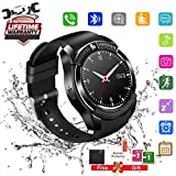 Bluetooth Smart Watch Touchscreen with Camera,Unlocked Watch Cell Phone with Sim Card Slot,Waterproof Smartwatch Phone for Android Samsung IOS Iphone 7 6S Men Women Kids (Black-1)