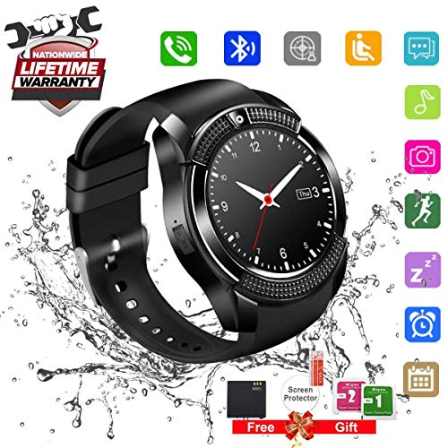 Bluetooth Smart Watch Touchscreen with Camera,Unlocked Watch Cell Phone with Sim Card Slot,Waterproof Smartwatch Phone for Android Samsung IOS Iphone 7 6S Men Women Kids (Black-1) by Luckymore