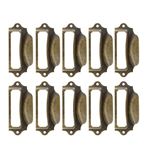 Saim Antique Iron Label Frame Card Holder Cup Pull Handle Drawer Box Case Cabinet Cupboard Carpenter Repair decoration Hardware Pack of 10