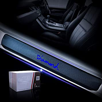 YOWAX For Jeep Grand Cherokee Srt Car Door Sill Plate Protectors-Carbon Fiber Pattern Door Entry Guards Sill Scuff Cover Panel Step Protector 4pcs