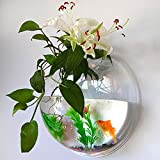 UniqCollection Fish Bowl Acrylic - Fish Bubble Wall Mounted Aquarium Bowl Hanging Pet Fish Tank By Holds up to Approx 1.2 Gallon Water - Fake Plant and Stone Decoration Included