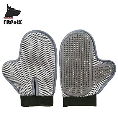 FitPetX Dog Cat Grooming Brush Glove Hair Beauty Gloves Hair Remover for Long & Short Hair