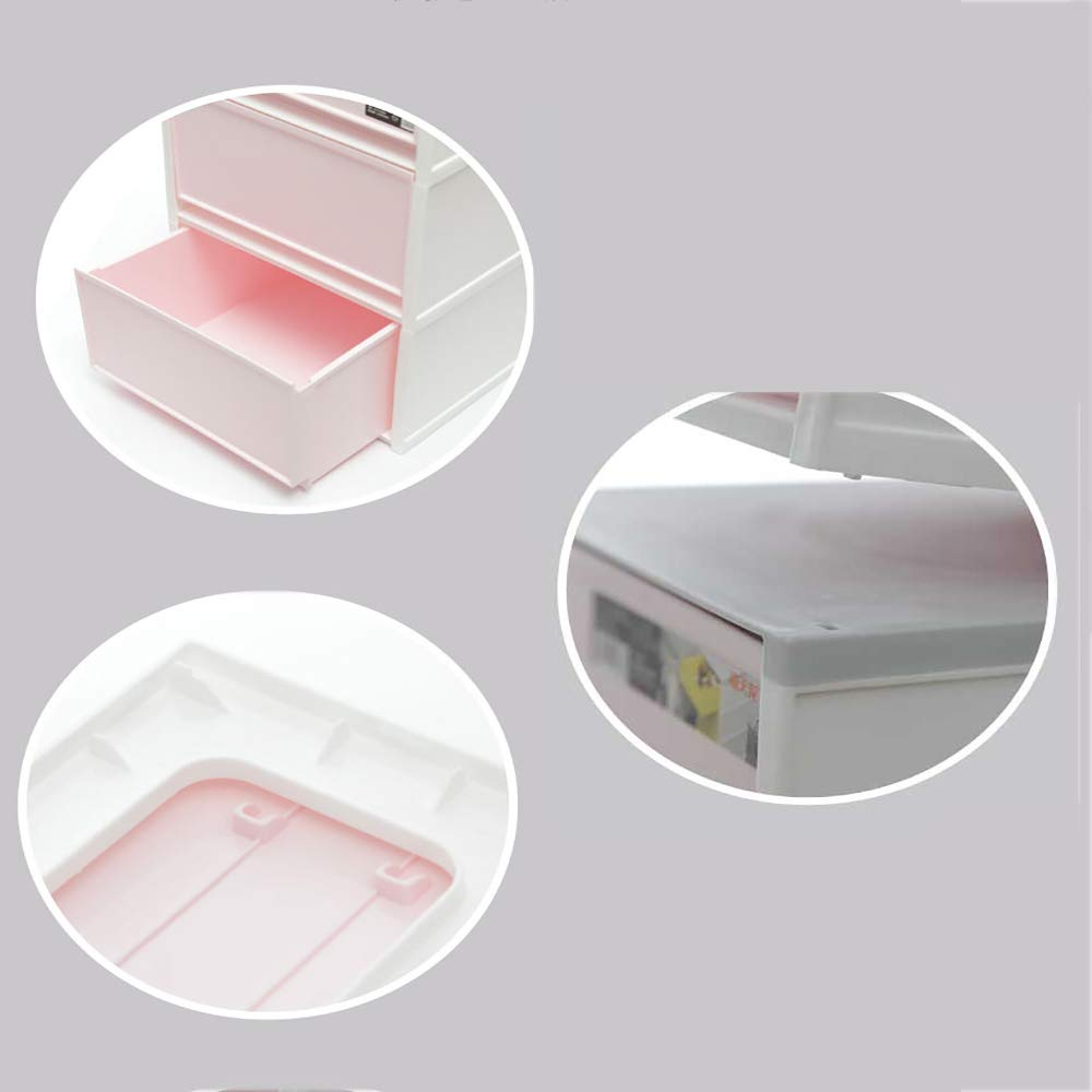HAKN Storage Box, Bedside Storage Box Drawer Type Plastic 3 Layers Snack Clothing Storage Box (Color : Dark Blue)