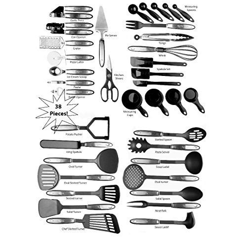 Kitchen Cooking Utensil Set - 38 Nylon Cooking Utensils - Heat Resistant & Non-Scratch, Kitchen Tools Set With Spatula – Best Cooking Utensils Gift Set By Royaleco